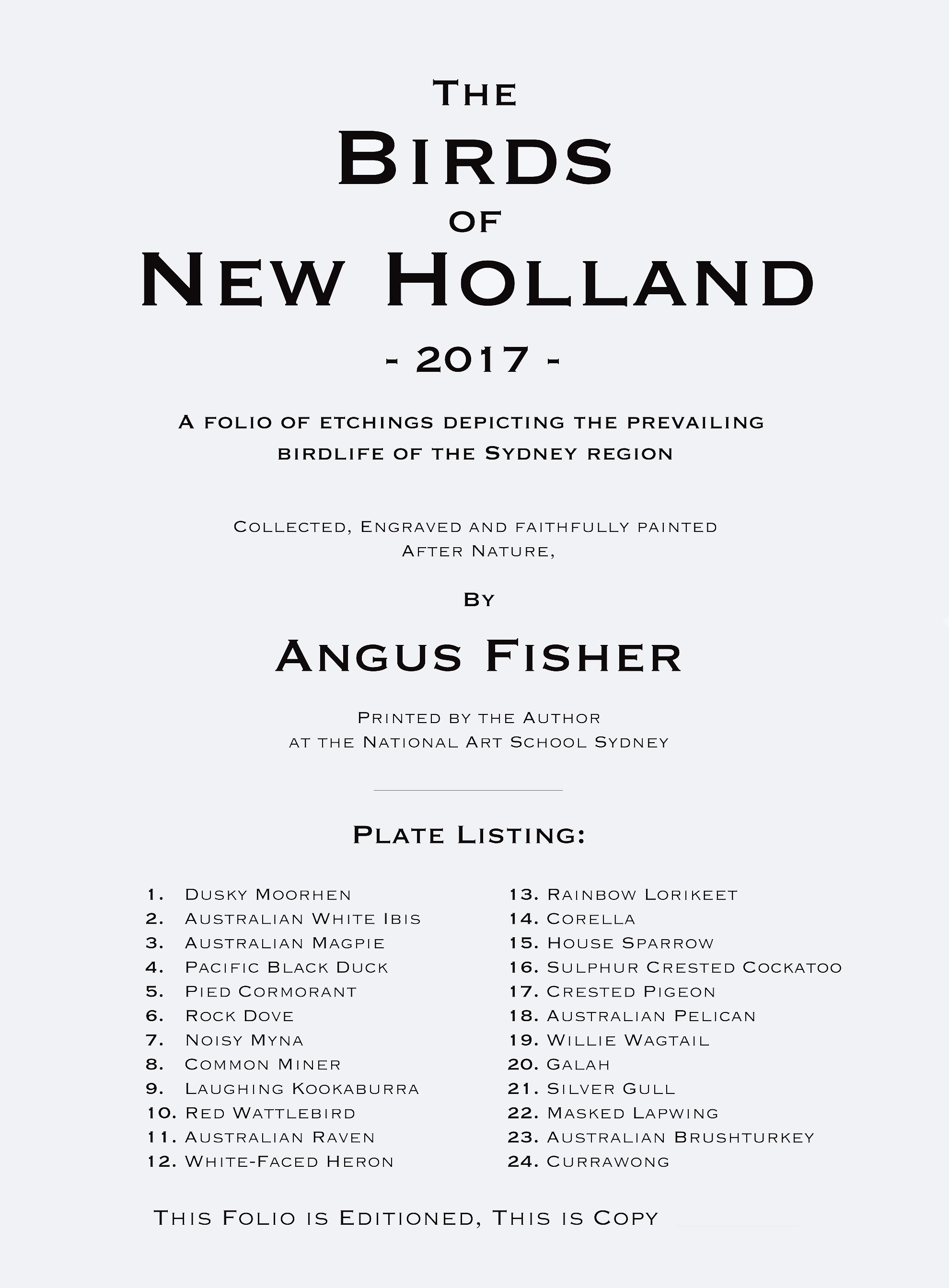 'Birds of New Holland Colophon'