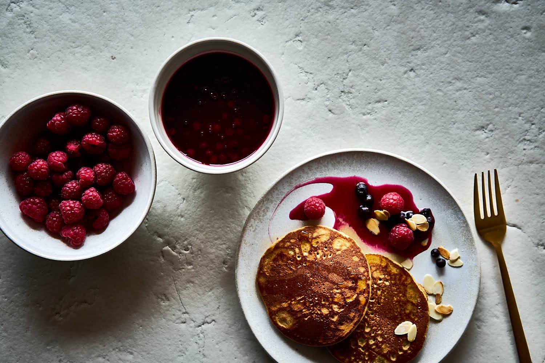 Dinkelmehl-Pancakes mit Himmbeeren