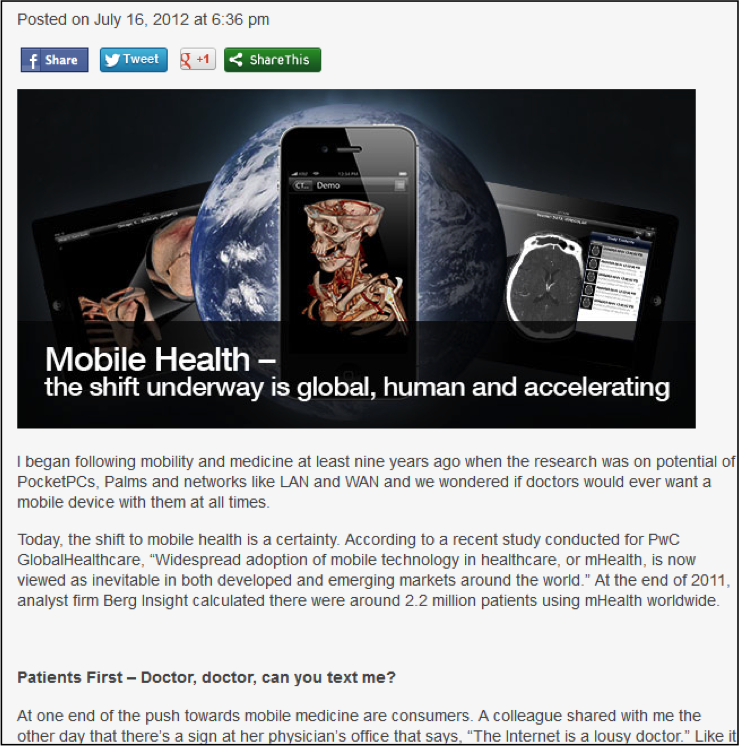 Blogs - Healthcare mobility as global IT trend