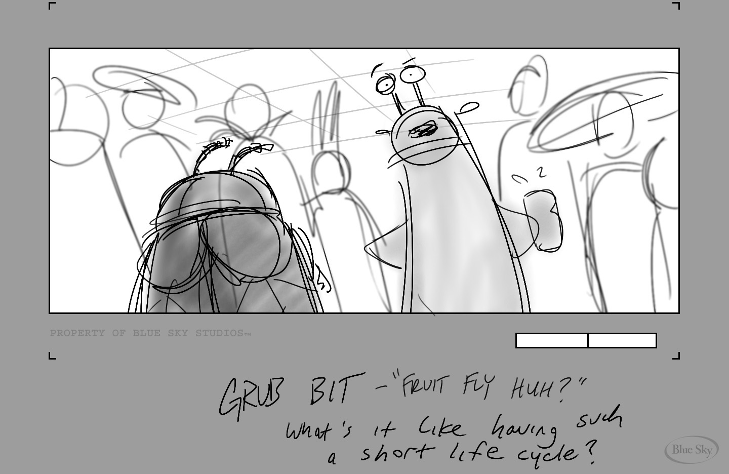Grub seeks wisdom from a fruit fly.       CLICK IMAGE TO PLAY - USE ARROWS TO SCROLL.