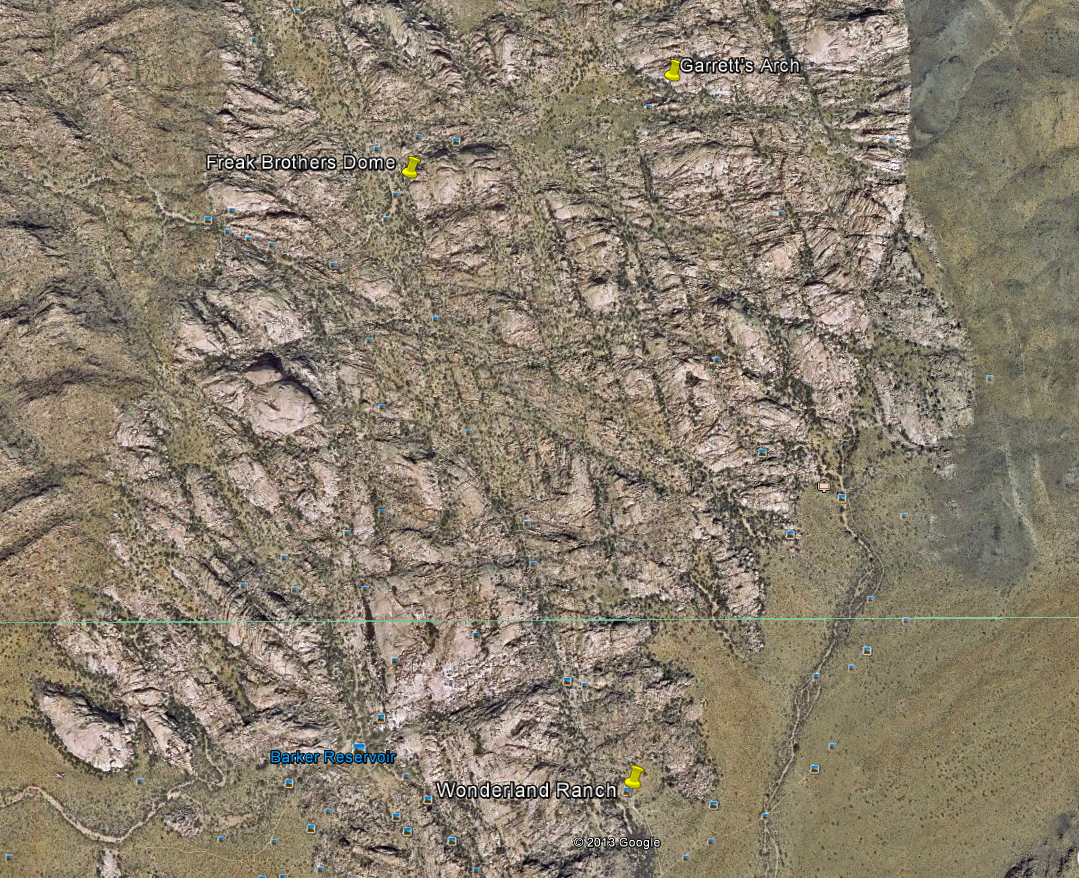 Google Earth Satellite view with three major landmarks.