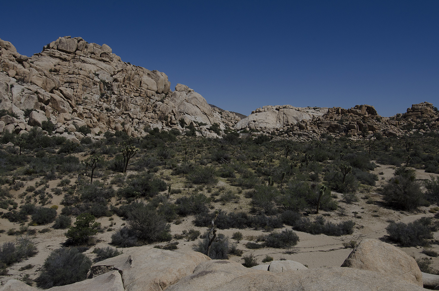 This pile of rocks provides a great view. This is looking back towards Barker Dam.