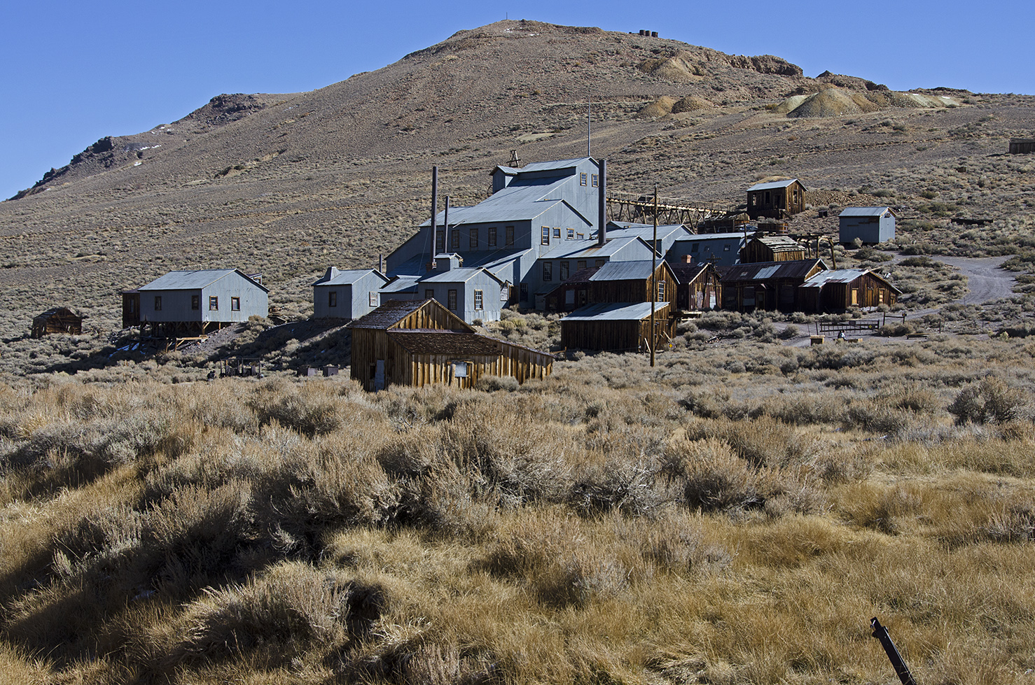 The Standard Mine and Mill are located on the west slope of Bodie Bluff. The mine was known as the Bunker Hill Mine when it was registered in 1861. The mill last operated in 1938. The Standard was the most successful mine in Bodie.