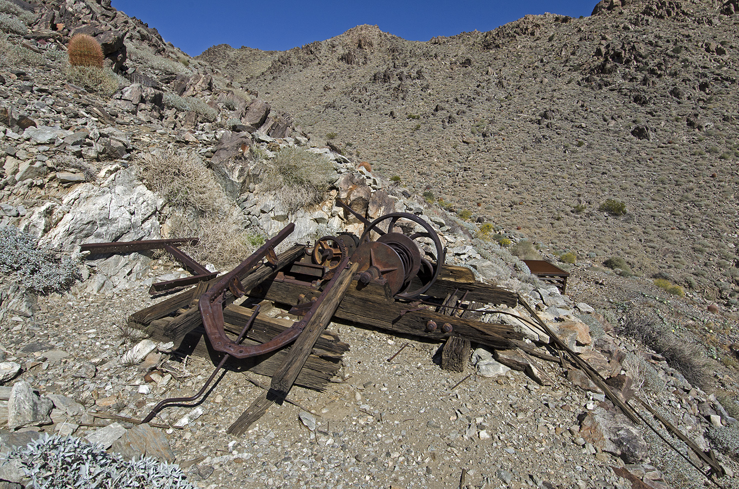 What's left of a winch is above one of the shafts.
