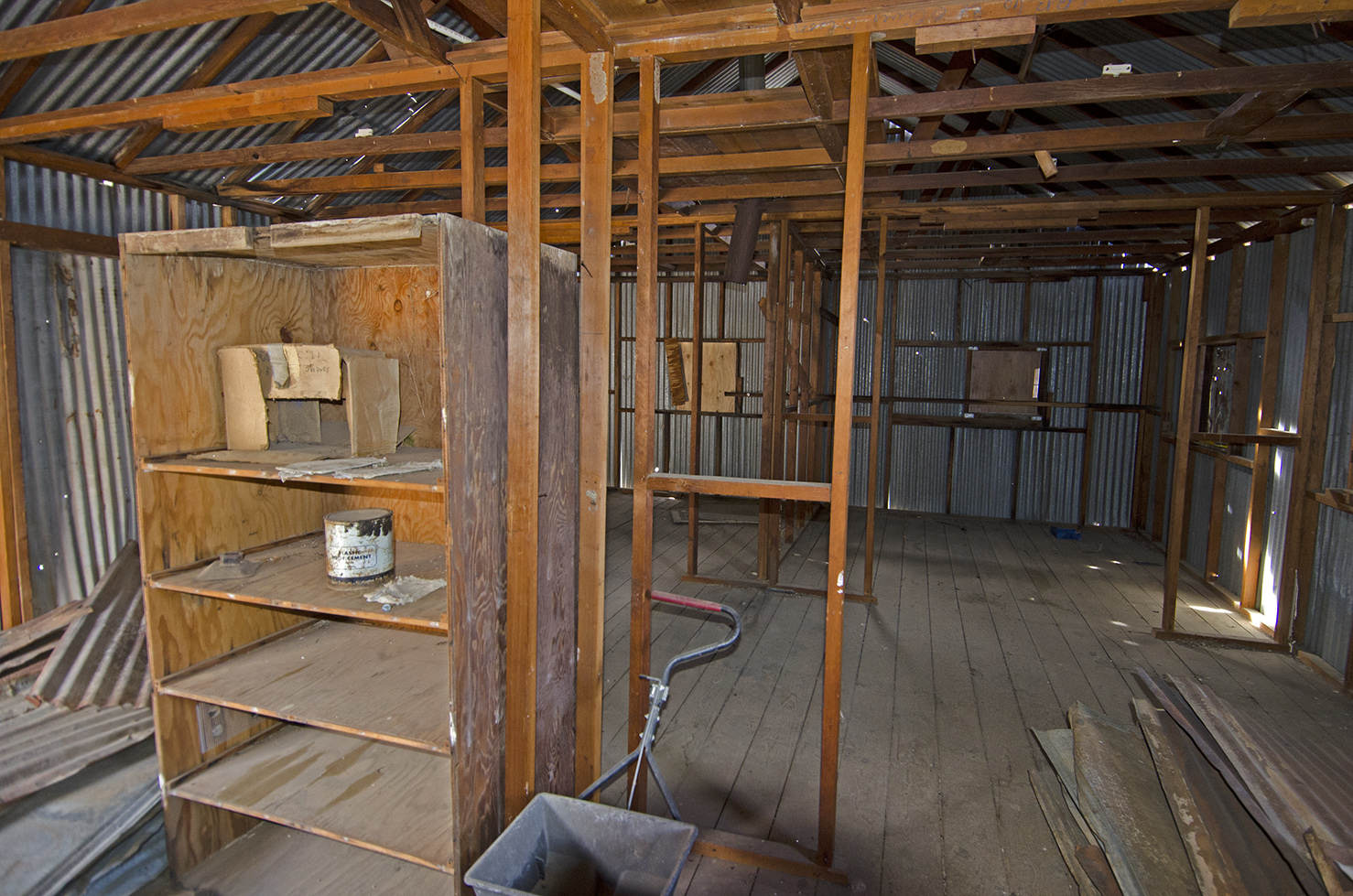 Inside the bunkhouse. It looks as though it may have had a few individual rooms.