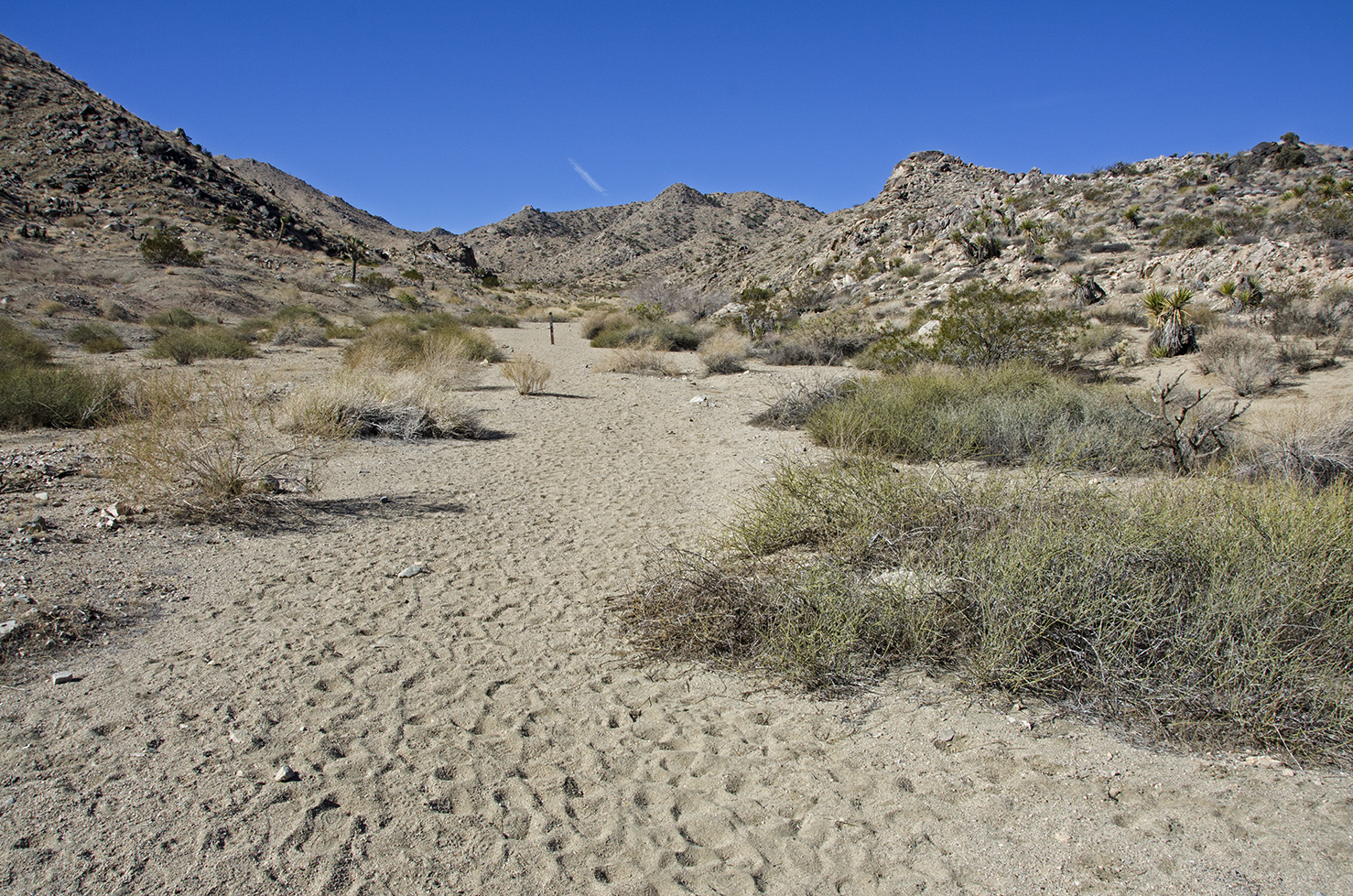 The trailhead to historic Pinyon Well Canyon.