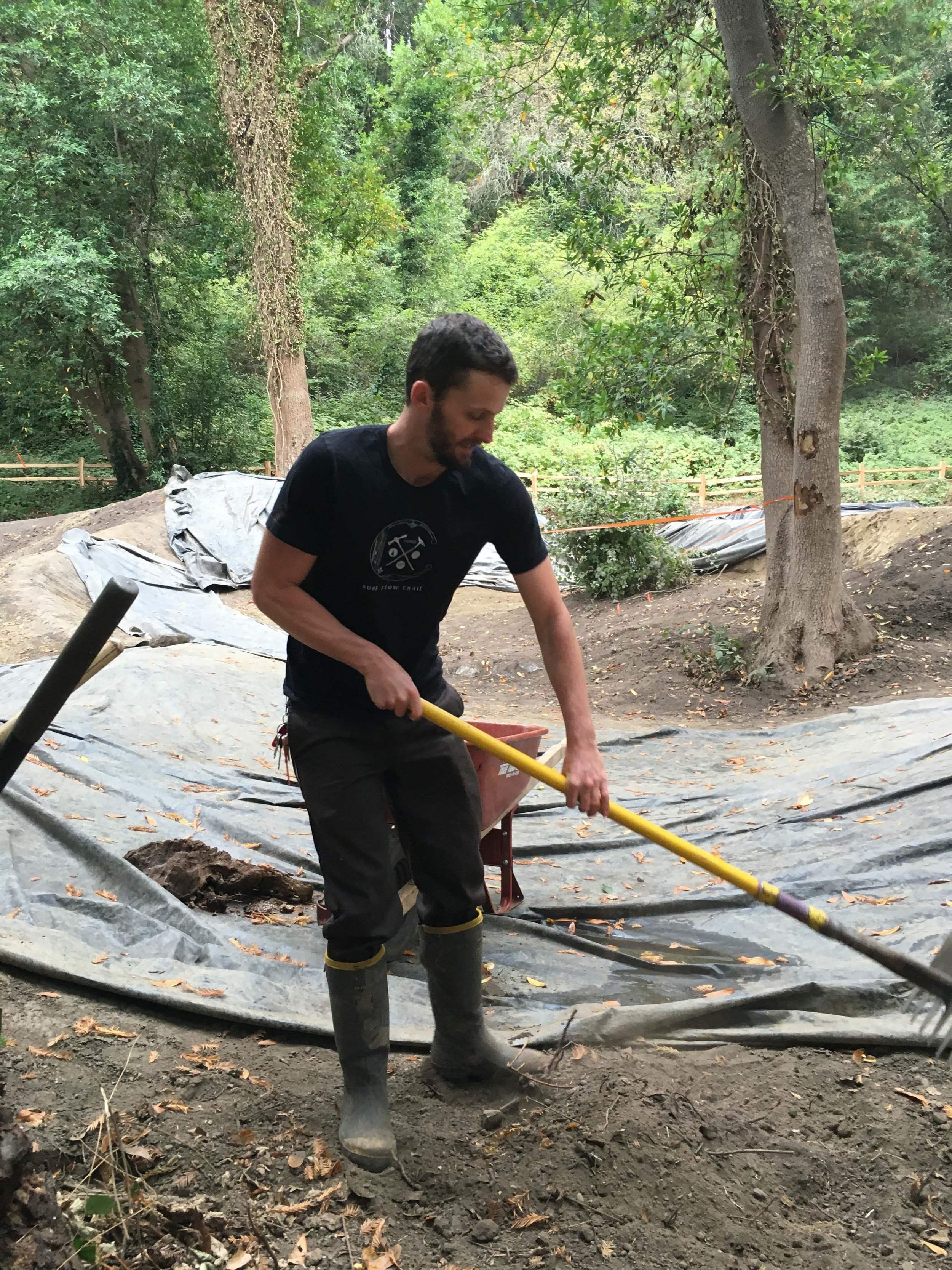 Trail manager Matt De Young throwin' some dirt