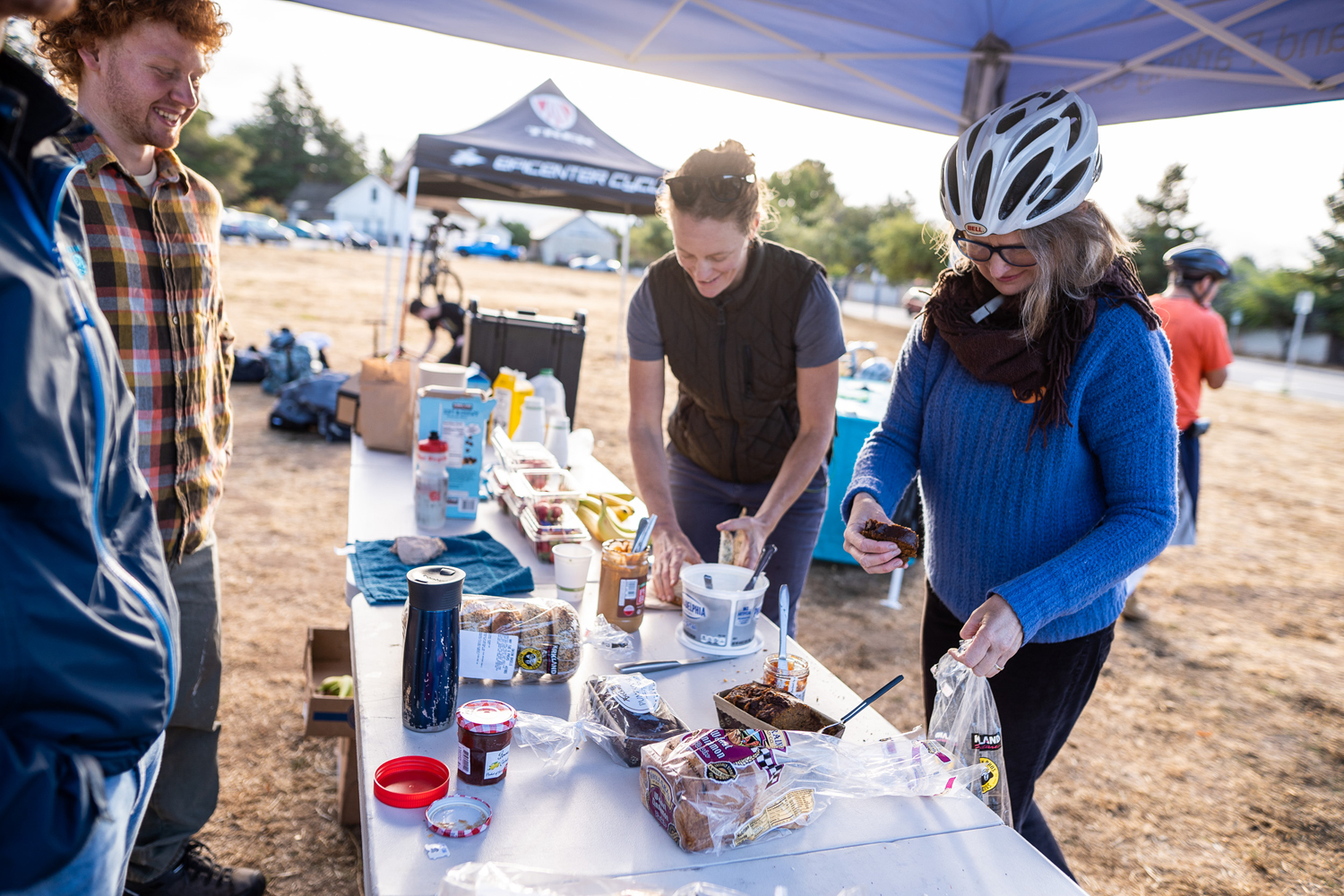 Diving into the breakfast goodies at last fall's Bike to Work Day at UCSC's main entrance. Photo courtesy Ecology Action.