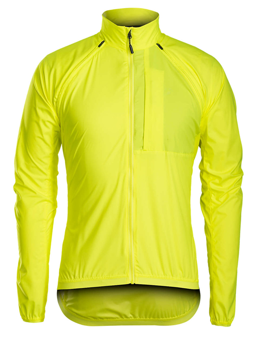 "Bontrager Circuit Convertible Windshell Jacket in ""Visibility Yellow"" — remove the sleeves to turn the jacket into a vest!"