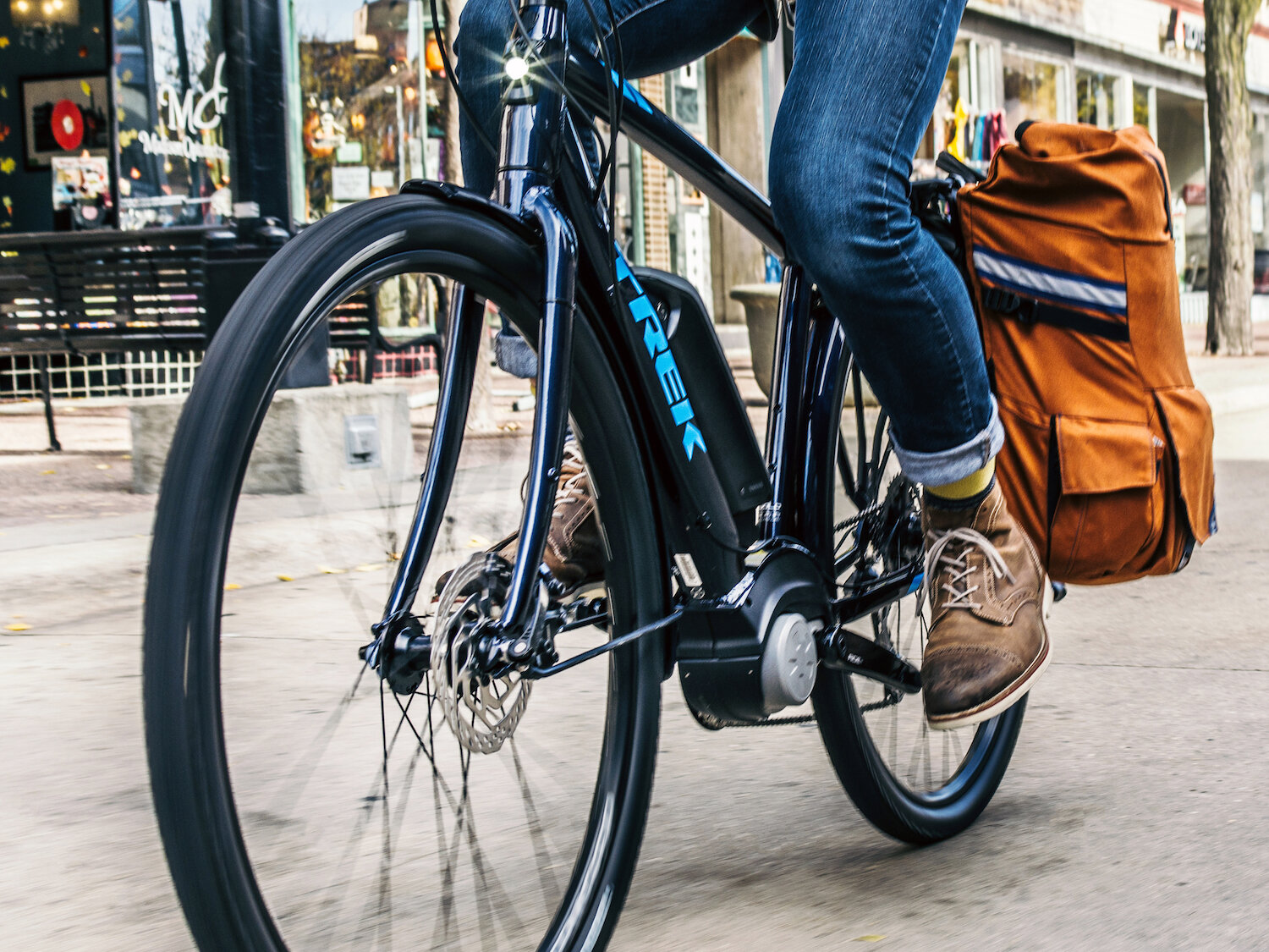 We recommend the following Class 2 e-bikes for commuting: Trek Verve+ (pictured above), Trek Dual Sport+, Electra Townie Go!, Blix Aveny, Blix Sol, Blix Packa and Blix Vika.