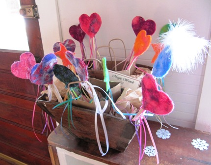 Magic Wands - handmade nuno felt, ribbons, lots of magic!  My lovely assistant almost turned me into a duck!
