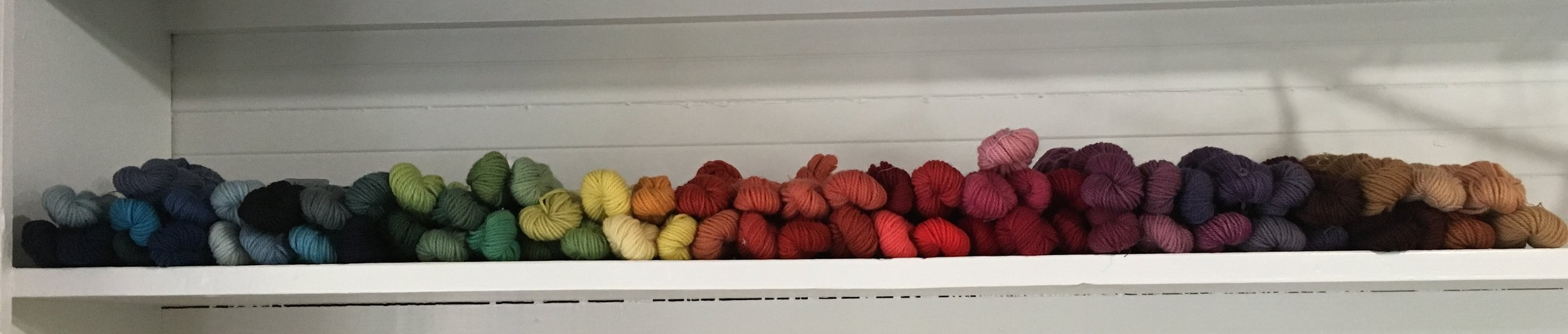 Woolen yarn dyed with indigo, madder root, cochineal (insects), lac, osage orange sawdust, weld, logwood, sappan wood, black walnut and cutch. (See also natural dyeing classes - 40-60 colors from natural dyes, 2-4 day classes)