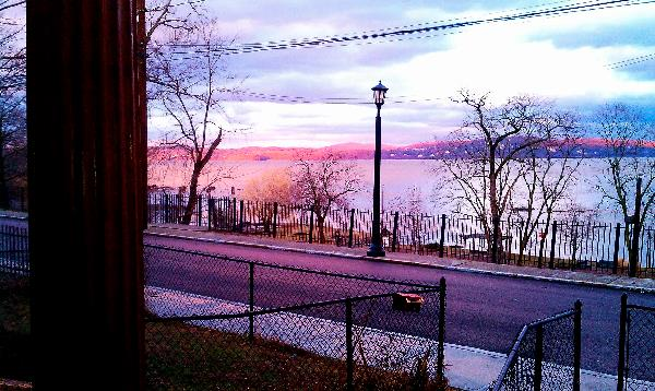 The view of the Hudson River from the porch.