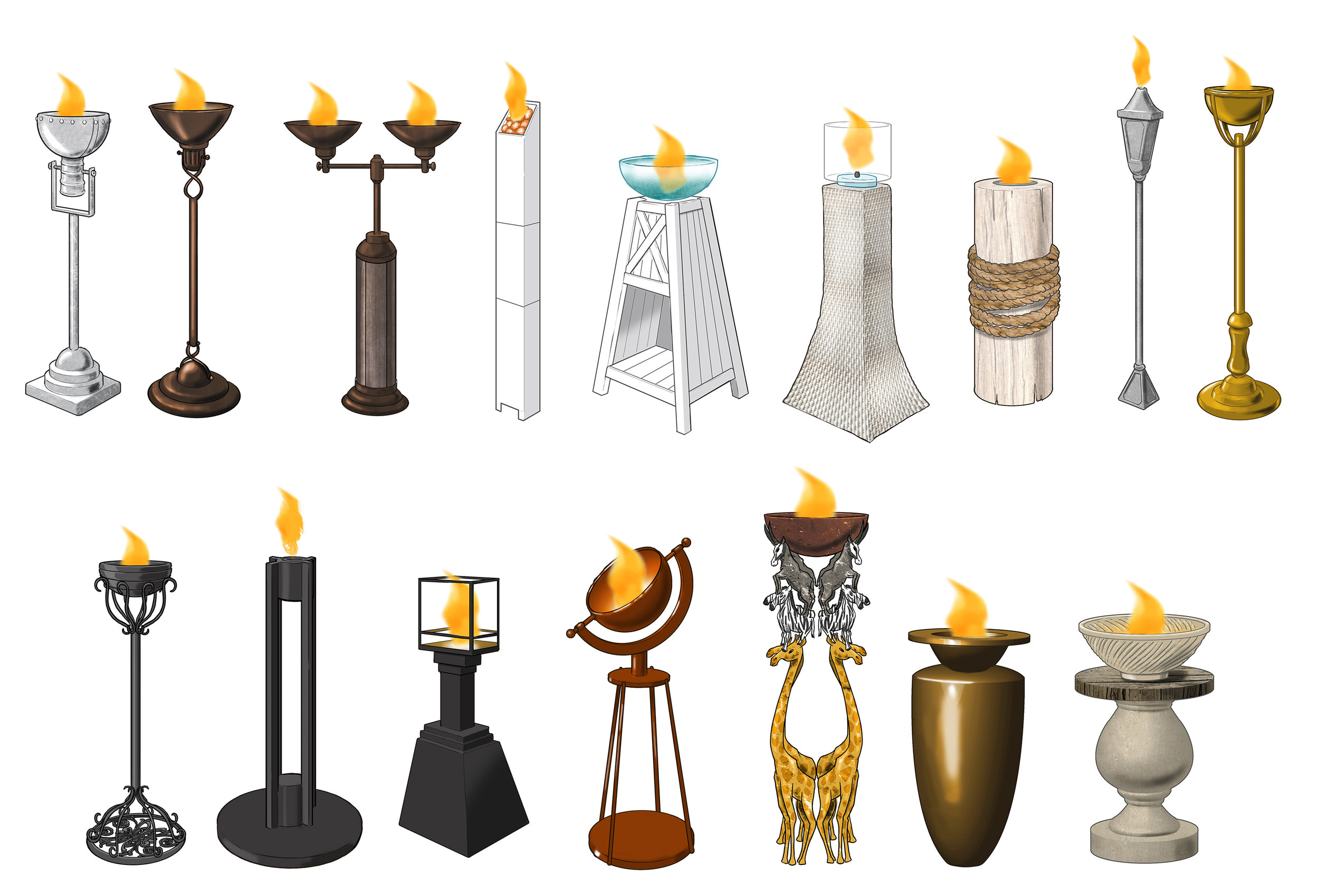 Free Standing Patio Torches