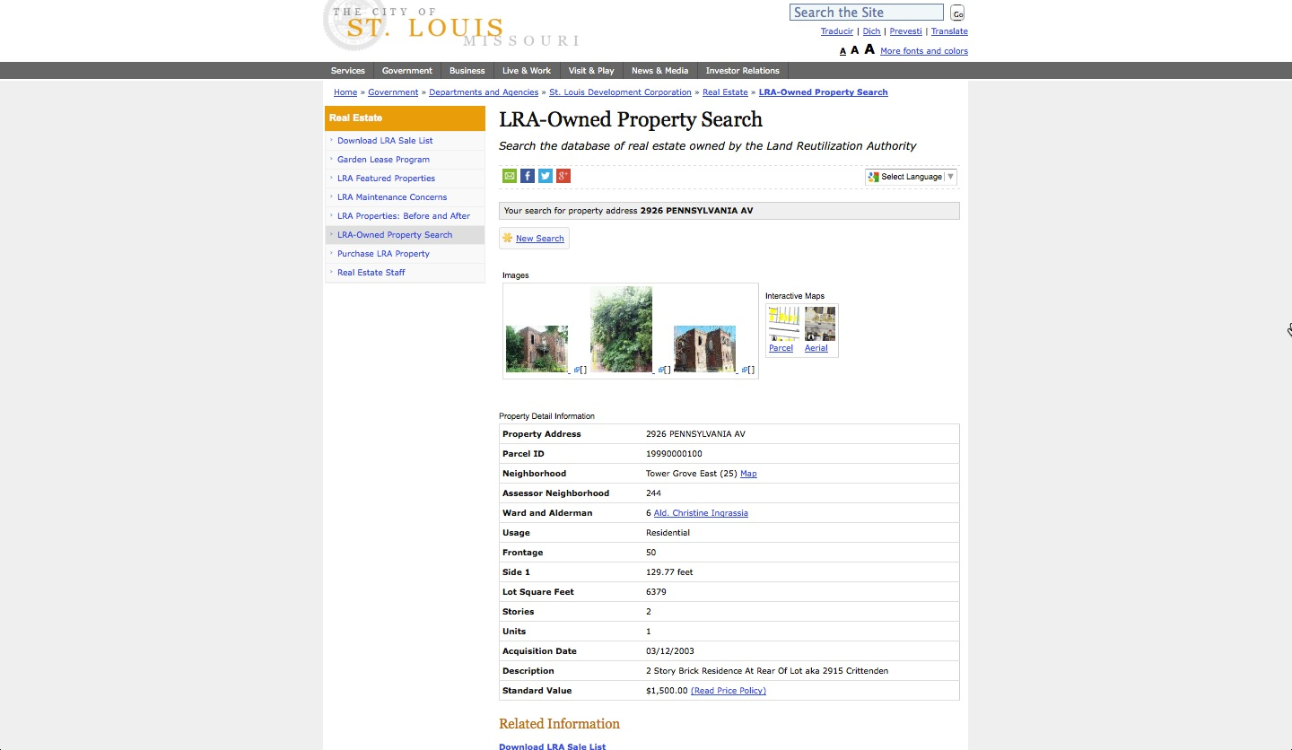 The LRA interface for exploring vacant property data.