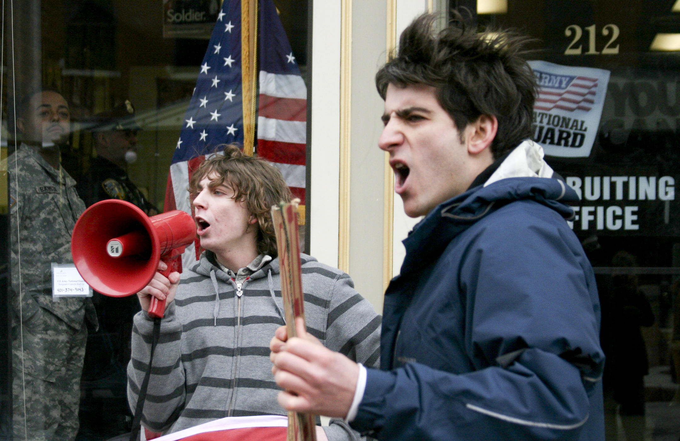 College students protest recruiting practices of a US military recruiting office in Providence, RI.