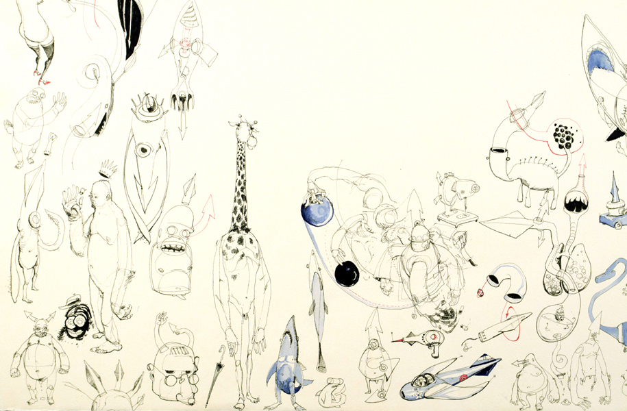 """Ink & watercolor on paper. 2007.22"""" x 30""""."""