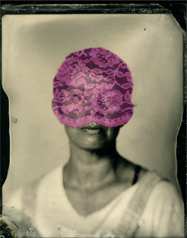 Self-Portrait with lace, 2013, wet-plate collodion, scanned & edited