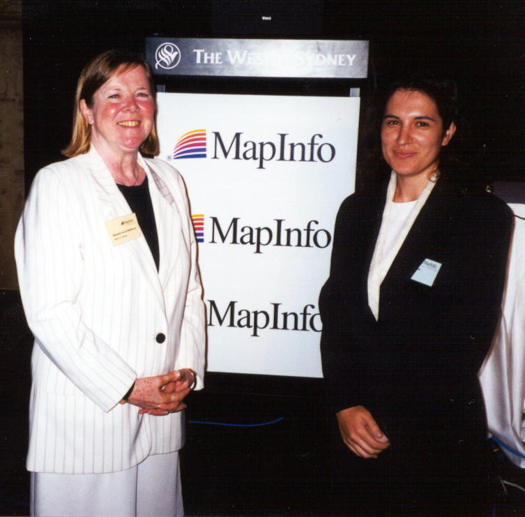Margareet van der Werhorst with Katina Michael at MapWorld 1999