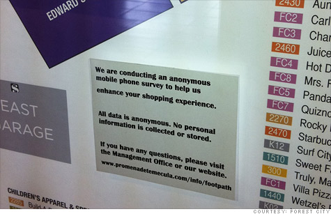 """A sign at a shopping mall that describes the location tracking of smartphones is taking place. Most consumers would not have a clue what this is about. The surveillance is described for the purposes of """"enhancing"""" your shopping experience."""
