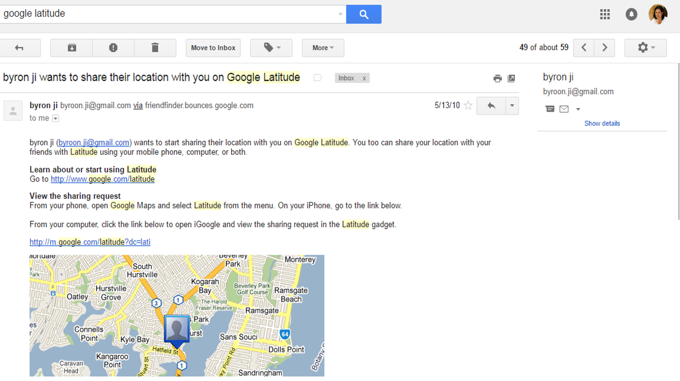 """In 2009 my research team and I used Google Latitude to share our real-time location coordinates. In May 2010, this user """"byron ji"""" is a stranger who has requested I share my location. I obviously did not."""