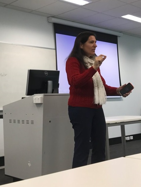 Katina Michael addressing School of Nursing at iC UOW. Photo by Dr Moira Stephens