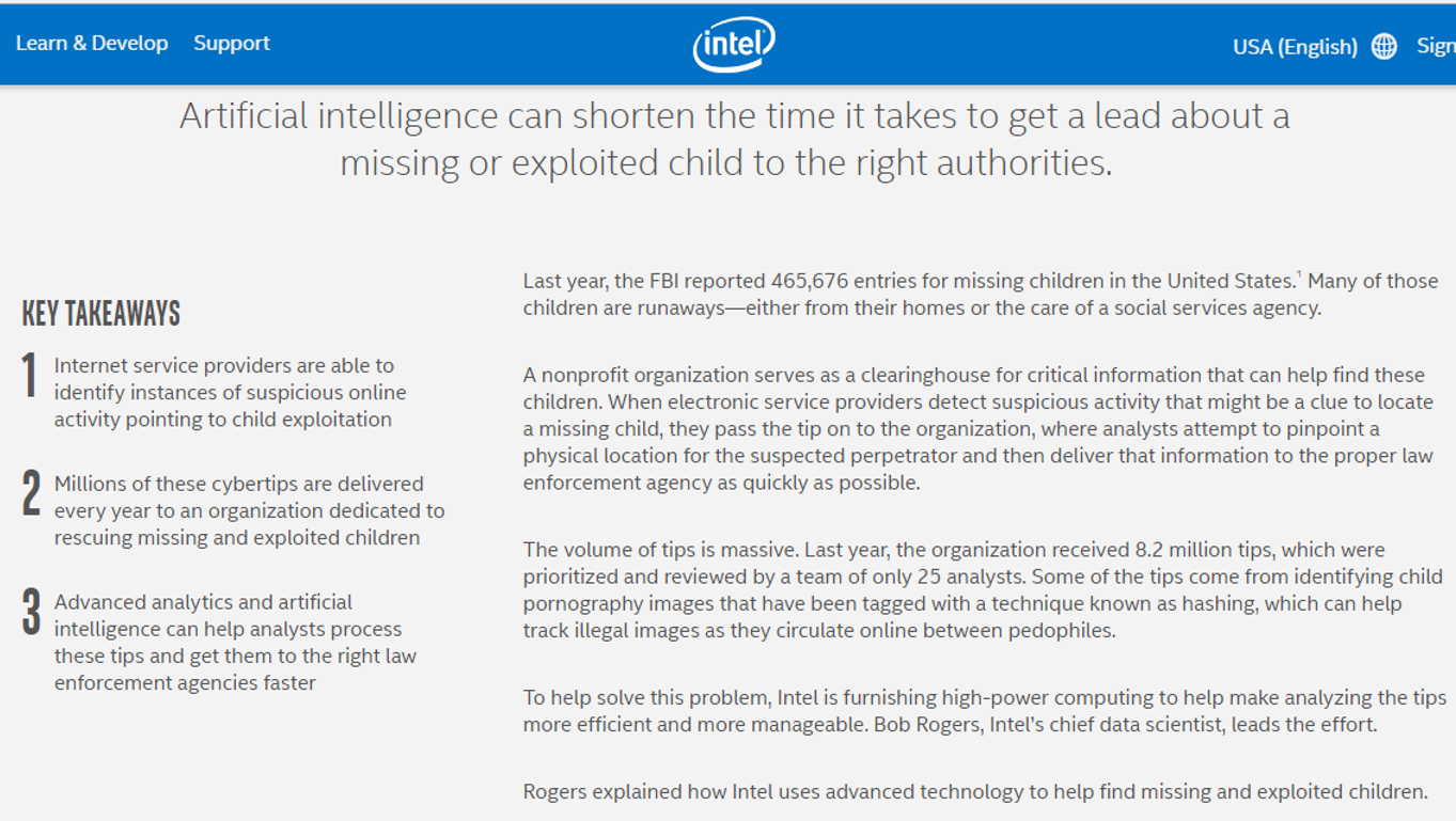 https://www.intel.com/content/www/us/en/analytics/artificial-intelligence/article/ai-helps-find-kids.html