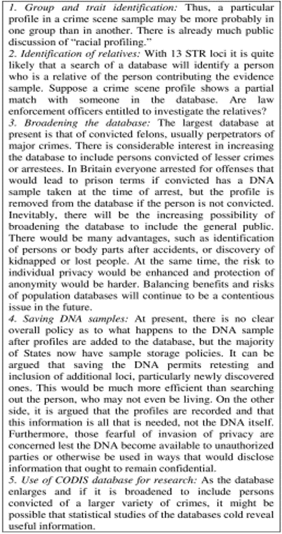 Table 5.  Social, ethical and legal issues pertaining to DNA databanks identified by national institute of justice in the united states in 2000 [31, pp. 35f].