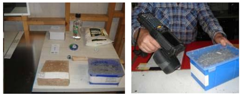 Exhibit 1. The ten tagged products (left); scanning an RFID tagged carton of nails (right)