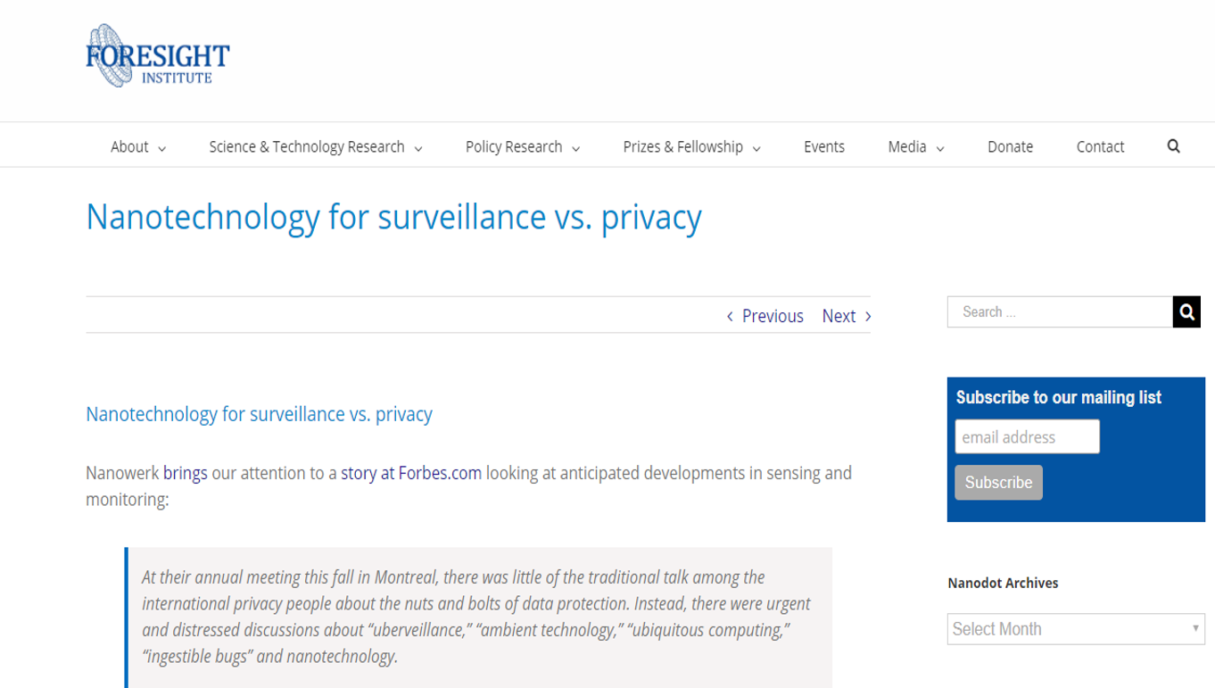 Source:https://foresight.org/nanotechnology-for-surveillance-vs-privacy/