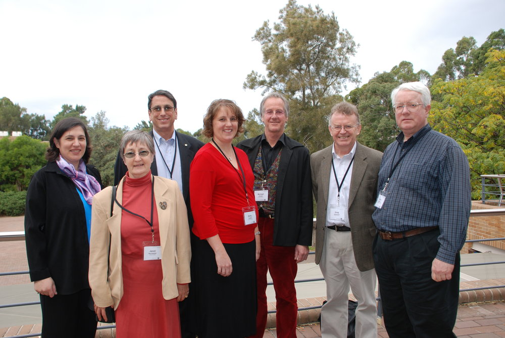 At ISTAS 2010 (l to r): Program Chair Katina Michael; SSIT Past President Janet Rochester; IEEE Division VI Director Mark Montrose; Organising Chair Holly Tootell; SSIT Australia Secretary Michael Arnold; SSIT Australia Chair Greg Adamson; Conference Committee Chair Gene Hoffnagle.