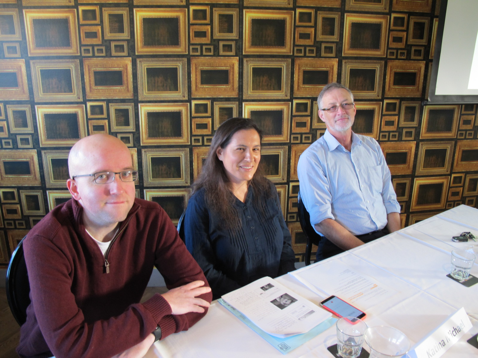 From left to right: Alex Kidwell, Katina Michael, Rob Livingstone.