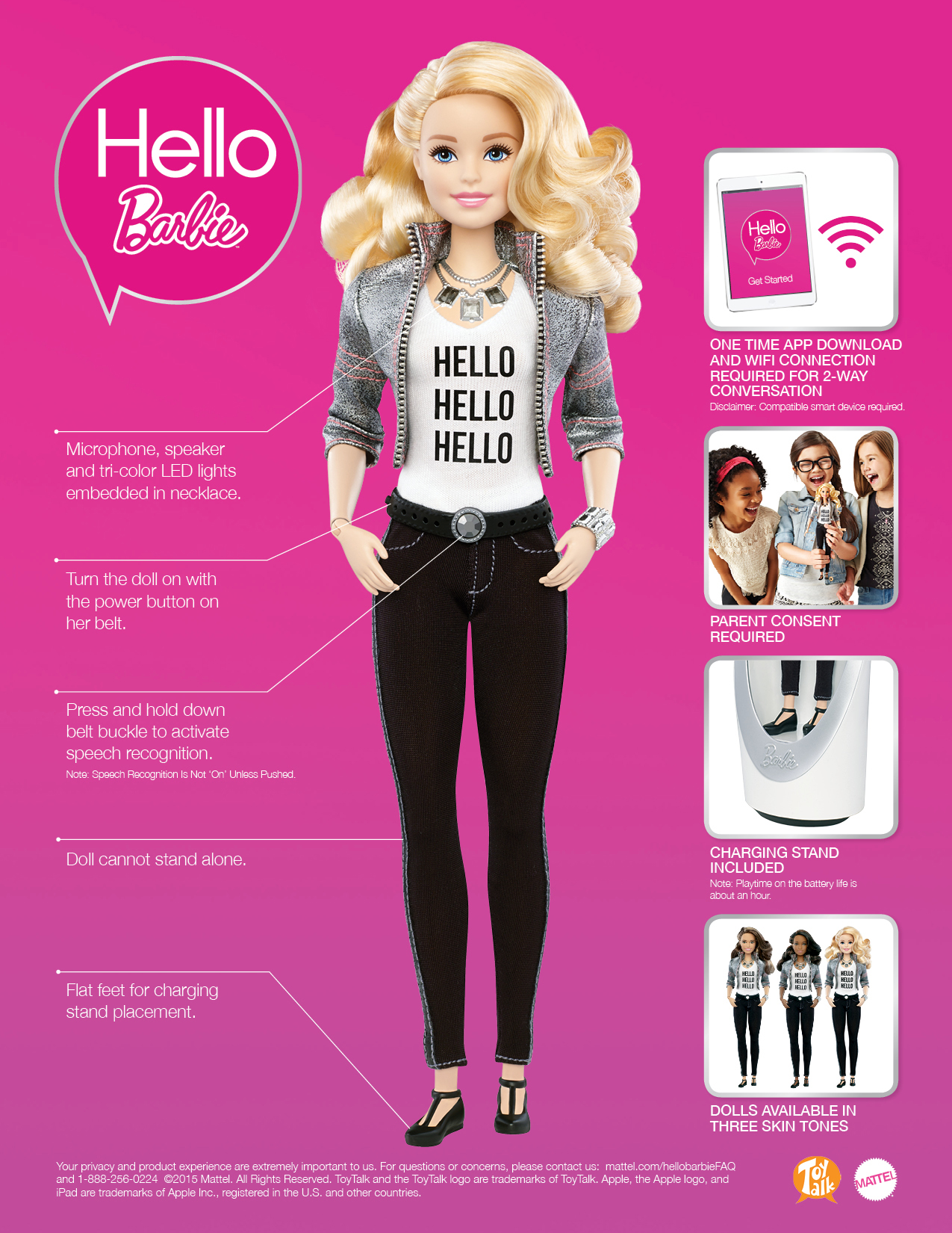 Source: http://hellobarbiefaq.mattel.com/about-hello-barbie/