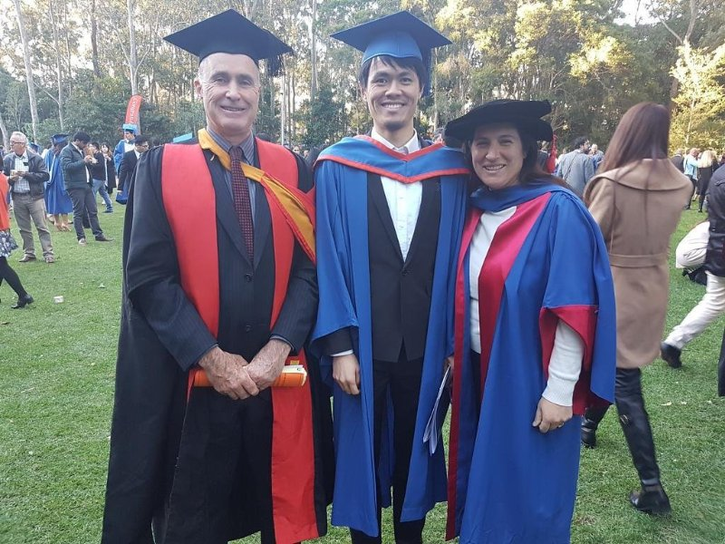 June 2018: from left to right (the legendary Professor Chris Cook my brilliant Executive Dean who retired in Dec 2018; Albert Kun Yang my incredible student from Nanjing and myself at the Duck Pond lawn of the University of Wollongong, NSW, Australia). Mr Yang's Masters by Research was on the www.petajakarta.org project and I was so proud he somehow finished altogether dealing with Angel investors for his new gaming VR arcade venture.