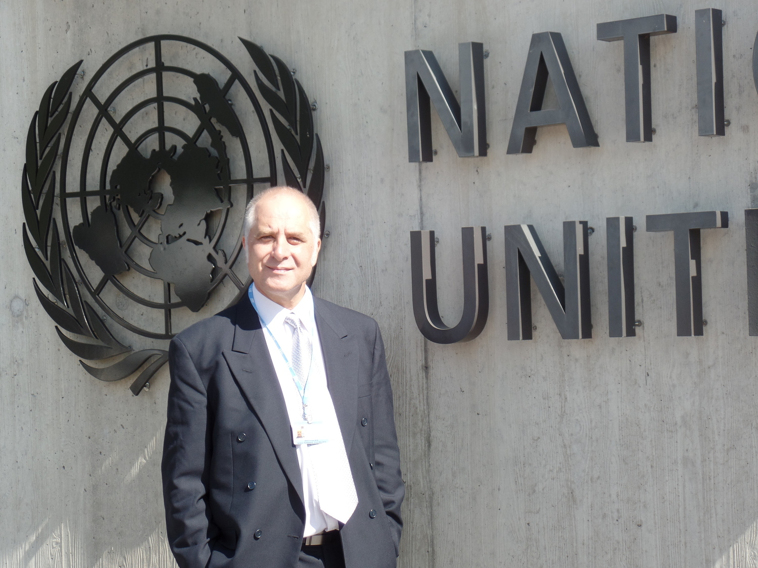 MG Michael outside the United Nations, nearby the Forum Venue at the ITU, Geneva, Switzerland