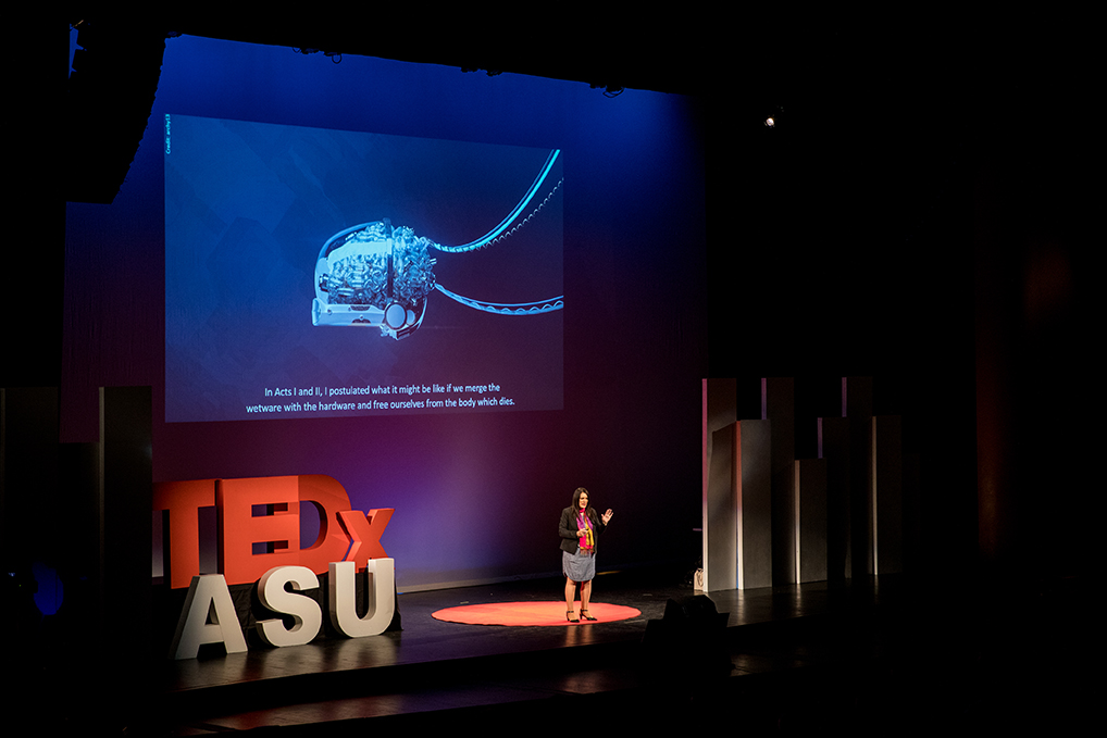 Professor Katina Michael explored the idea of brain implants, their benefits and applications, as well as their dangers — some of which she sees today. Photo courtesy of TEDxASU