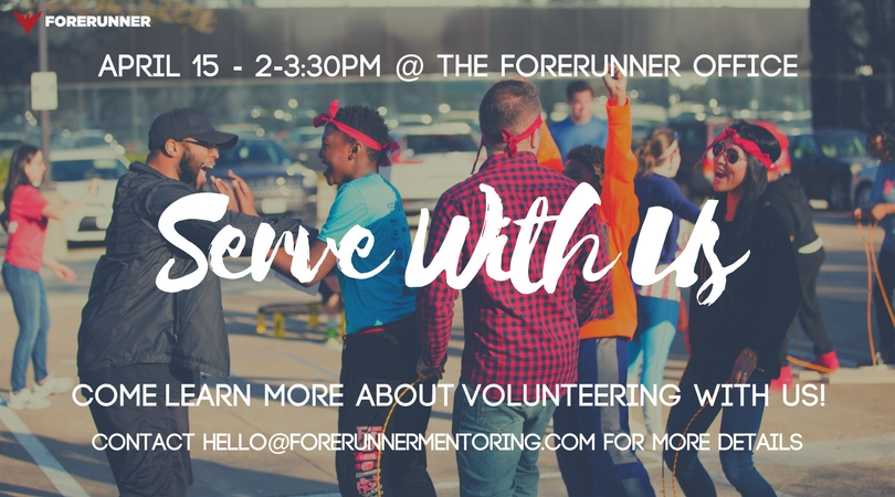 - If you are interested in partnering with Forerunner, there will be an interest meeting on 4/15/18 from 2-3:30pm where you can learn about different ways in which you can serve Forerunner.