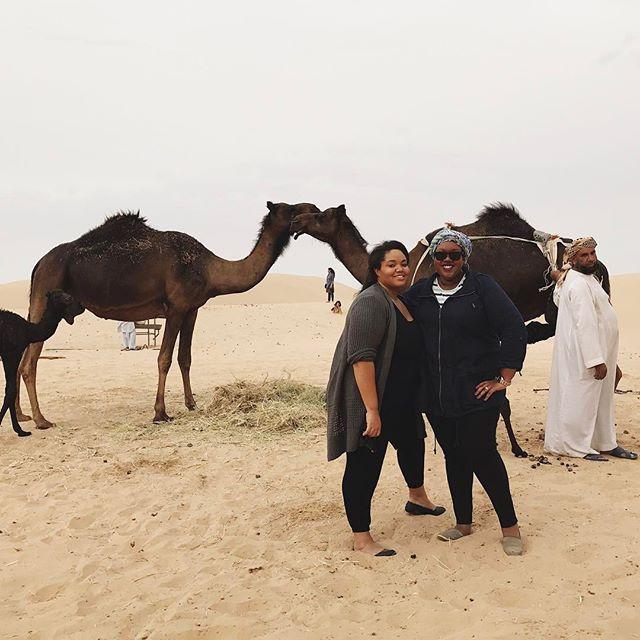 Posin' with the camels, including the guy watching them! Lol! #IquoinUAE #abudhabilife #desertsafari #themcamelsdoe #babycamels