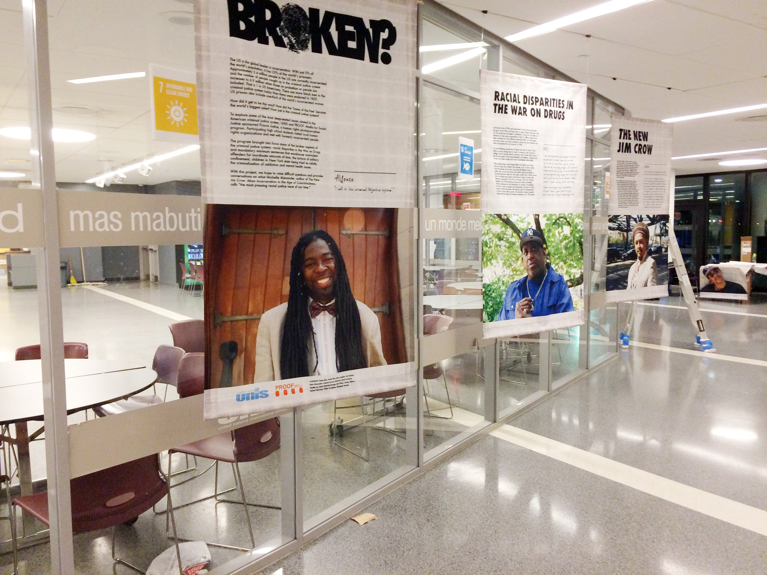"Installation of the ""Broken?"" exhibition at UNIS, November 2015. Photo courtesy of PROOF: Media for Social Justice and UNIS."