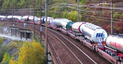 Le service d'Autoroute Ferroviaire Alpine, France / Italie.