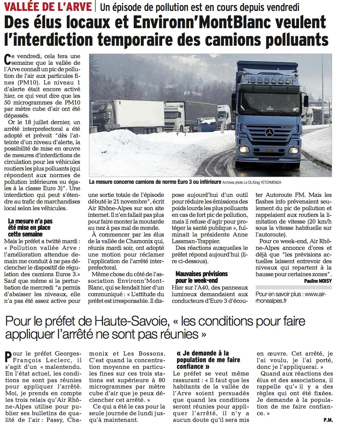 Le Dauphiné Libéré, 28 novembre 2014.