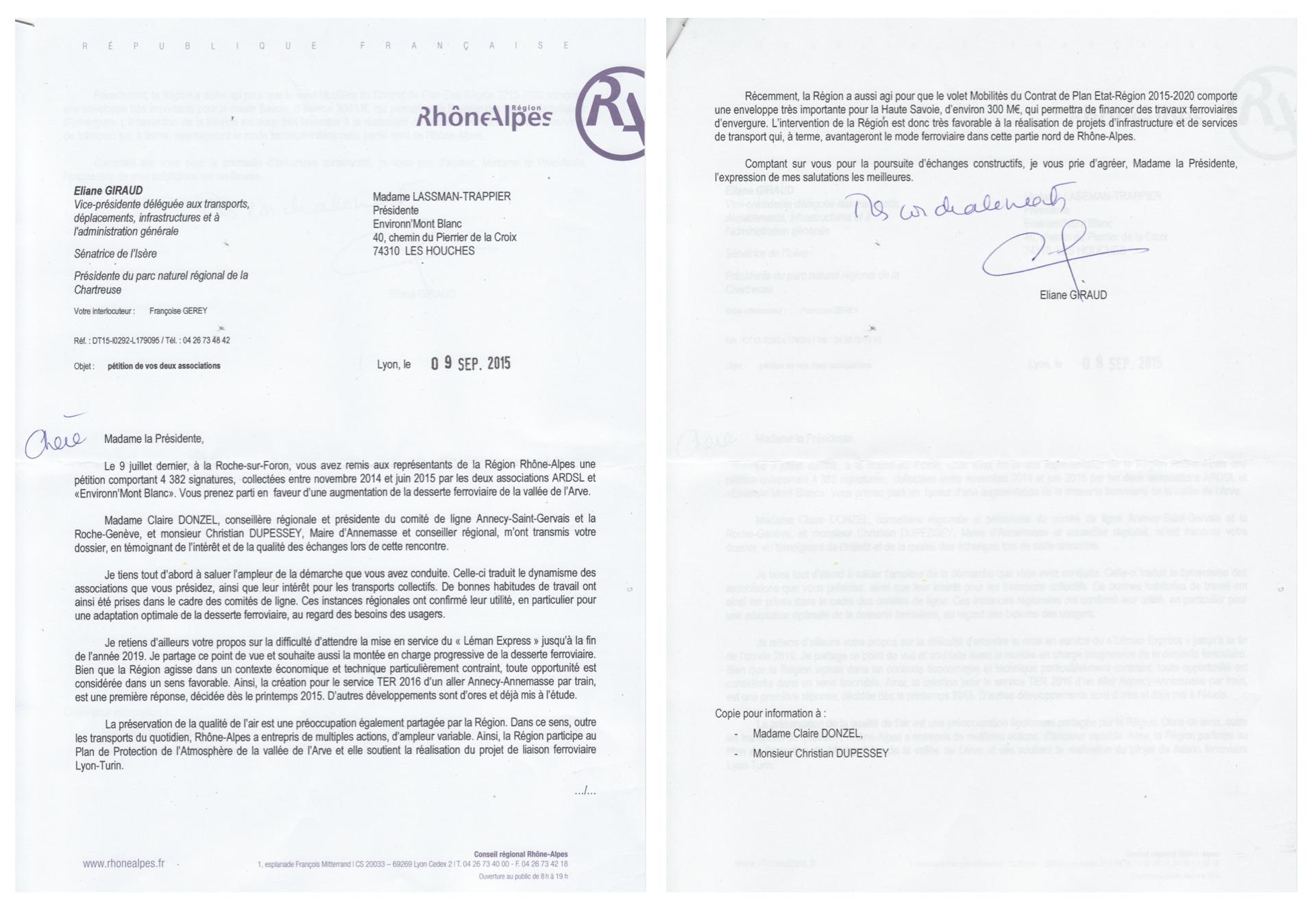 La réponse de la Vice-Présidente Transports de la Région Rhône-Alpes