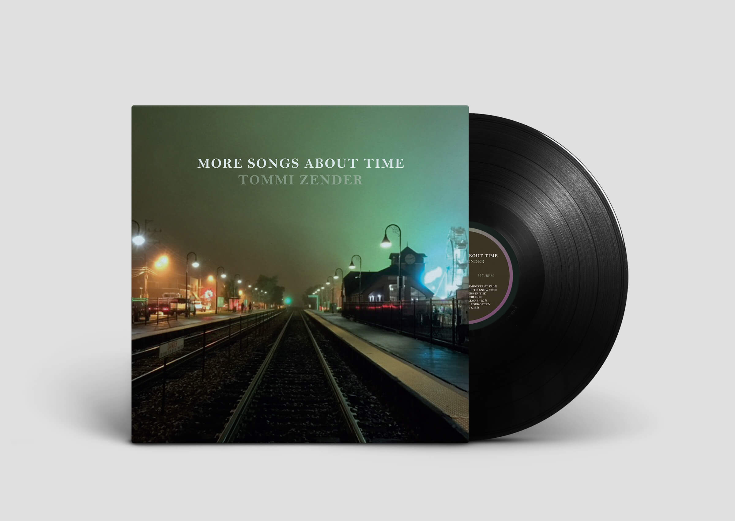Vinyl, labels, digipak, insert and poster work done for guitarist, Tommi Zender, new album, More Songs about Time.