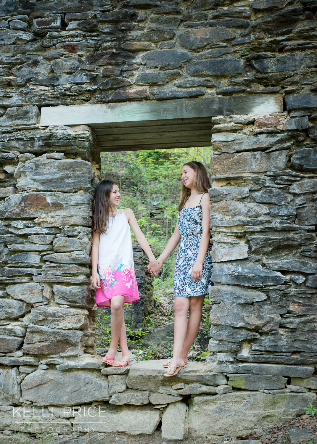 Sisters Holding Hands at Sope Creek, Marietta, Georgia