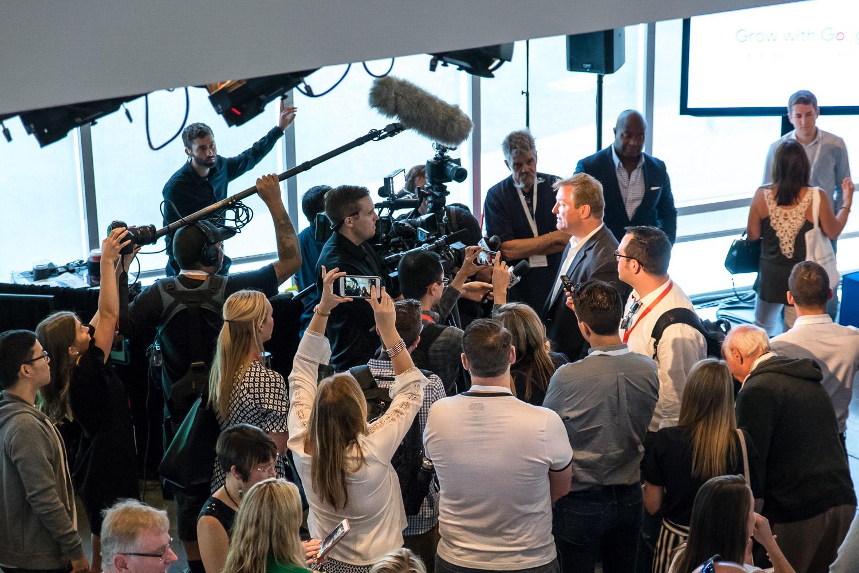 Nevada's Senator Heller being interviewed after his Grow with Google speech