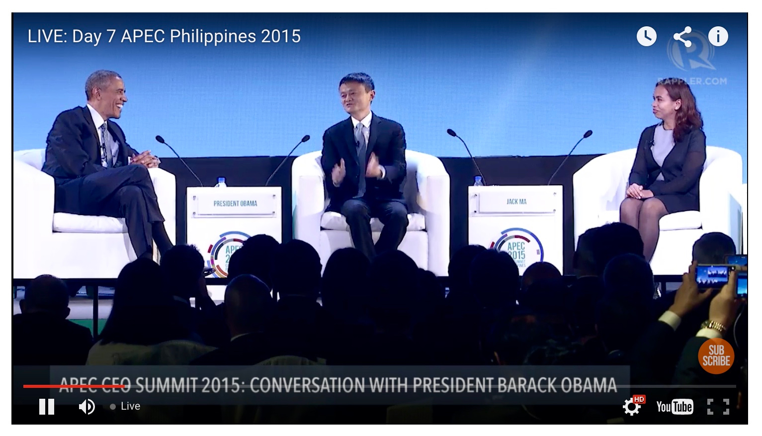 Philippine entrepreneur Aisa Mijeno and Alibaba CEO Jack Ma discuss sustainability leadership issues with President Obama at APEC 2015.