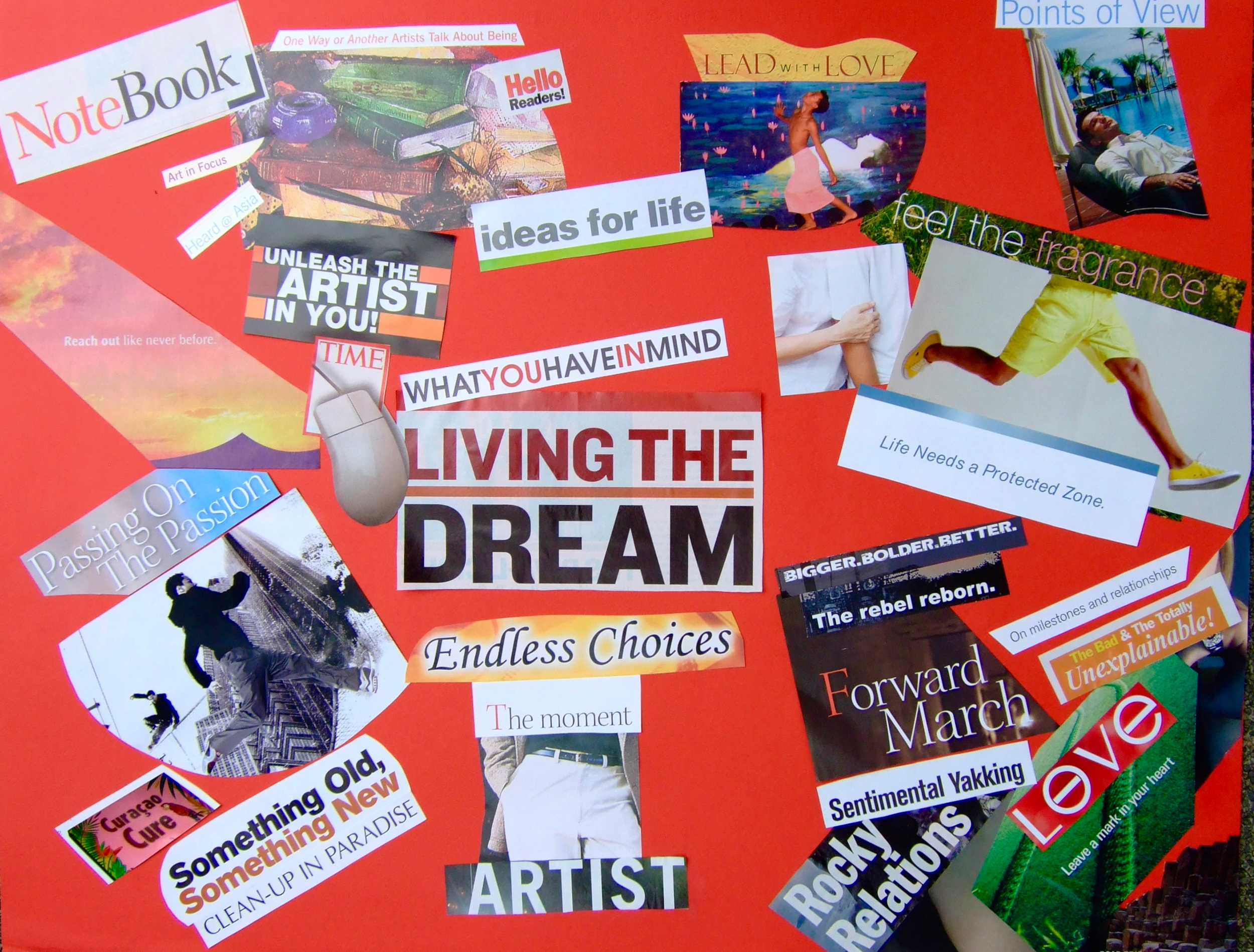 My New Year vision board back in December 2006. Now I use a practice that is even more fun, and much more effective and sustainable.