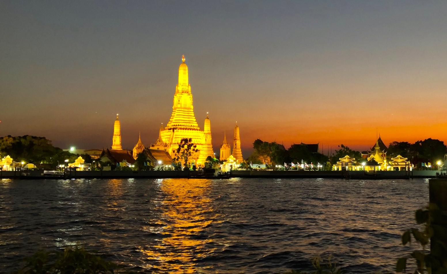 The Temple of Dawn, or  Wat Arun,  in Bangkok.