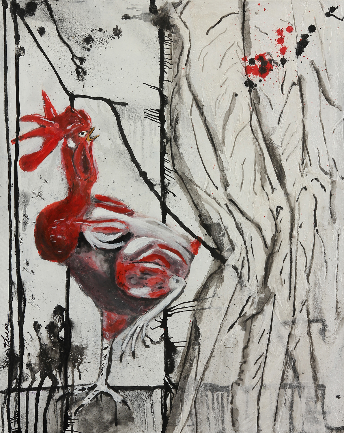 "2014, ""Caught in the Nude,"" Mixed Media on Paper, 30 X 24 (size of original)"