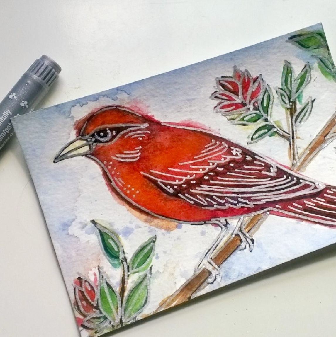 Kendra Shedenhelm_PaintPens_BirdWatercolor